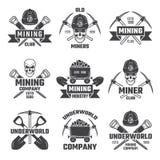Mineral y minería aurífera Emblemas del vector libre illustration