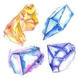 Minerale arancio e blu dei gioielli della roccia dei diamanti Elemento isolato dell'illustrazione illustrazione vettoriale