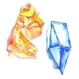 Minerale arancio e blu dei gioielli della roccia dei diamanti Elemento isolato dell'illustrazione illustrazione di stock