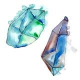 Minerale blu dei gioielli della roccia del diamante Elemento isolato dell'illustrazione Fotografie Stock Libere da Diritti