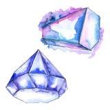 Minerale blu dei gioielli della roccia del diamante Elemento isolato dell'illustrazione Fotografie Stock