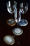 Minerale onderleggers voor glazen Stock Afbeelding