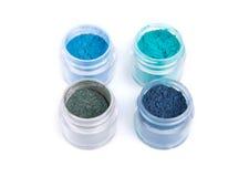 Minerale oogschaduwwen in blauwe kleur Stock Fotografie