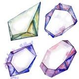 Minerale porpora dei gioielli della roccia del diamante Fotografie Stock Libere da Diritti