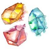 Minerale variopinto dei gioielli della roccia del diamante Elemento isolato dell'illustrazione Immagine Stock