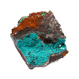 Mineralen - rosasite op limonite op witte achtergrond wordt geïsoleerd die Stock Afbeelding