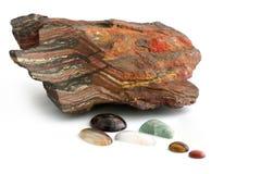 Mineralen, Ruw en Opgepoetst Stock Fotografie