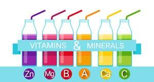 Mineraler för näringsämne för kemiska beståndsdelar för vitamincoctailflaska nödvändiga Arkivfoton