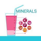 Minerales esenciales del alimento de los elementos químicos del vidrio de cóctel de las vitaminas stock de ilustración