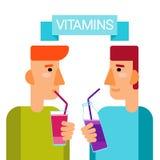 Minerales esenciales del alimento de los elementos químicos de la botella del cóctel de las vitaminas de la bebida del hombre Fotografía de archivo