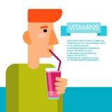 Minerales esenciales del alimento de los elementos químicos de la botella del cóctel de las vitaminas de la bebida del hombre Imagenes de archivo