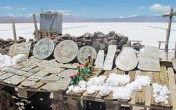 Minerales y recuerdos cristalinos de la sal en Salar Imágenes de archivo libres de regalías