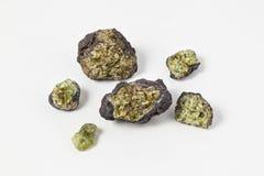 Minerali di olivina delle forme e delle dimensioni differenti su fondo bianco Fotografie Stock
