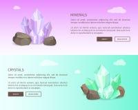 Mineralien und Kristall-Netz-gesetzte Vektor-Illustration Stockbild