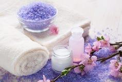 Mineralisk badsalt, handdukar och fuktighetsbevarande hudkräm i en stillsam brunnsortinställning Royaltyfri Fotografi