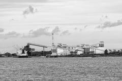 Mineralisk omlastning på port Royaltyfri Foto