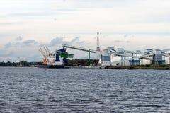 Mineralisk omlastning på port Royaltyfri Bild