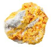 Mineralisk sten för Orpiment på isolerad dolomite Royaltyfri Bild
