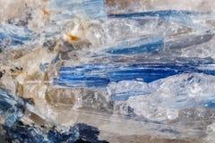 Mineralisk stenKyanite för makro en vit bakgrund Royaltyfri Bild