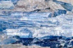 Mineralisk stenKyanite för makro en vit bakgrund Arkivfoton