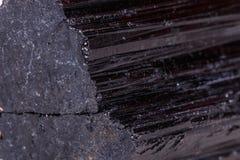 Mineralisk stensherle för makro, schorl, svart tourmaline på vita lodisar royaltyfria bilder