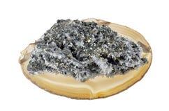 Mineraliska pyrit och kristaller Royaltyfri Fotografi