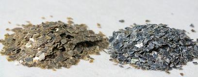 Mineraliska Vermiculiteprövkopior för produktion Arkivfoto
