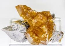 Mineralprobe des Kalzit-Sphalerits Lizenzfreies Stockbild