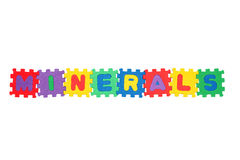 Minerals. Word Minerals, from letter puzzle, isolated on white background Stock Photo