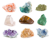 Minerals. Mineral collection isolated on a white background Stock Photo