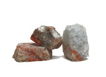 Minerals 3. Three pieces of minerals on a white background Stock Photos