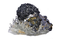 Minerals crystal, galena, chalcopyrite,quartz Royalty Free Stock Photography