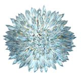 Minerals: Crystal sphere with acute columns isolated. Over white Royalty Free Stock Images