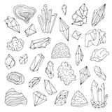 Minerals, crystals, gems Isolated black and white vector illustration hand drawn set. Stock Images