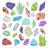 Minerals, crystals, gems Isolated color vector illustration hand drawn set. Stock Photography