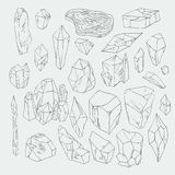 Minerals. And crystals natural shapes,  illustration Stock Photo