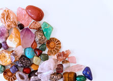 Minerals crystals and semi precious stones. Background Stock Photos