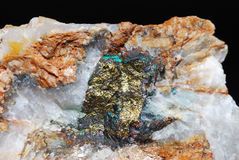 Minerals detail with pyrite and quartz Stock Image