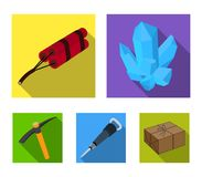 Minerals, explosives, jackhammer, pickaxe.Mining industry set collection icons in flat style vector symbol stock. Illustration Stock Photos