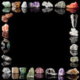 Minerals metals and gemstones. Border image of semi-precious gemstones, metals and minerals Royalty Free Stock Image