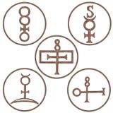Mineralspiritus-Symbole Stockfotografie