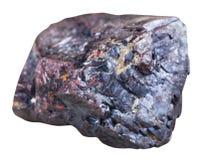Mineralstein des roten Cuprite lokalisiert auf Weiß Stockbilder
