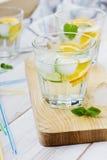 Mineralvatten med limefrukter, apelsiner, citroner, is och mintkaramellen med sugrör Arkivbild