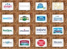 Mineralvattenmärken och logoer Arkivfoton