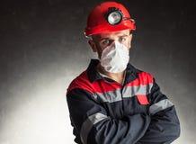 Minero de carbón con el respirador Imagen de archivo libre de regalías