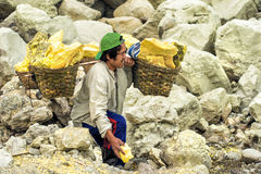 Minero del azufre en el cráter de Kawah Ijen en Java, Indonesia Fotografía de archivo libre de regalías