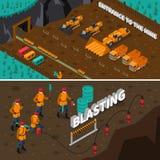 Minero People Isometric Banners stock de ilustración