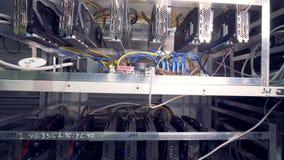 Mineros de Bitcoin puestos en shelfs Cryptocurrency de la explotación minera Concepto de Bitcoin metrajes