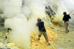 Mineros del azufre Fotografía de archivo