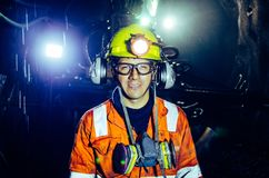 Mineros en Perú imagenes de archivo